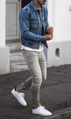 How do I wear a denim jacket? How to wear ic-Wie trage ich eine Jeansjacke? How do I wear a denim jacket? How do I wear a denim jacket? Fashion Mode, Denim Fashion, Fashion Menswear, Fashion Quiz, Fashion 2020, Denim Jacket Men, Men's Denim, Men Shorts, Denim Style