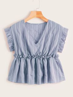 Vertical Striped Frill Trim Babydoll Blouse Check out this Vertical Striped Frill Trim Babydoll Blouse on Shein and explore more to meet your fashion needs! Indian Fashion Dresses, Girls Fashion Clothes, Teen Fashion Outfits, Look Fashion, Girl Fashion, Stylish Dresses For Girls, Stylish Dress Designs, Sleeves Designs For Dresses, Fancy Tops