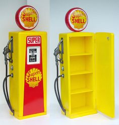 Shell Gas Pump Item Description: Shell Gas Pump Material: Wood and Fiberglass Size: Ht. 30 in. 18 in. Different word describing our product: life size Statue fiberglass. Car Bedroom, Bedroom Themes, Kids Bedroom, Pompe A Essence, Car Furniture, Gas Pumps, Trendy Bedroom, Play Houses, Boy Room