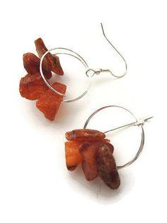 Orange amber earrings, handmade beaded dangle earrings of amber and silver, 925 silver earhooks