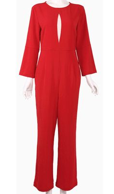 'Lady in Red' cut-out jumpsuit. Get a free scarf and 50% off jewelry in Christmas Offer.