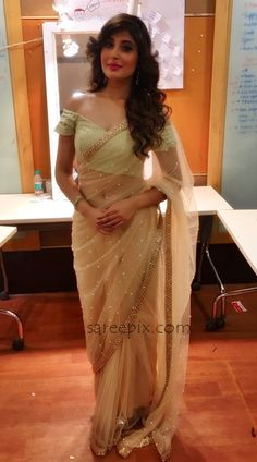 Hindi TV serial actress Kritika Kamra in transparent saree photos at a Global Peace Initiative event.