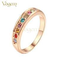 Rose Gold and Rhinestone Rainbow Ring