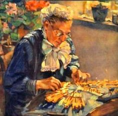 Old Woman Making Bobbin Lace, unknown artist. Today we don't appreciate the skill it took to make lace by hand. You see all those bobbins, which are all the threads she's working into a complex pattern by crossing and twisting? It's so easy to lose your place! This woman seems to have mastered the art of concentration while also being relaxed - her face is serious, but not screwed up into a frown. The sunlight on the bobbins makes for some wonderful color.
