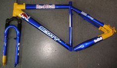 Custom Painted Bicycle Frame with Red Bull Colors ~ Hand Painted Jobs - Design your frame today. Red Bull, Bicycle Painting, Helmet Paint, Helmet Design, Custom Paint, Hand Painted, Bike, Helmets, Colors
