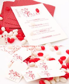 Etiquetas para detalle boda en rojo