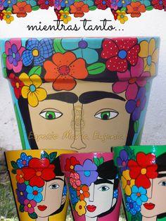 Macetas pintadas a mano inspiradas en Frida Kalho - Espacio María Eugenia