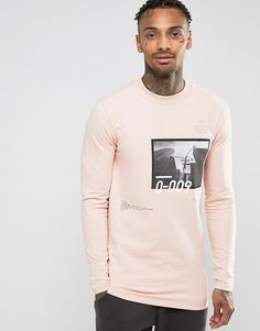 Image 1 of ASOS Longline Muscle Sweatshirt With Photographic & Text Print
