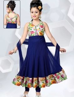 Wedding Wear Blue Net Lace Border Work Kids Wear Anarkali Suit