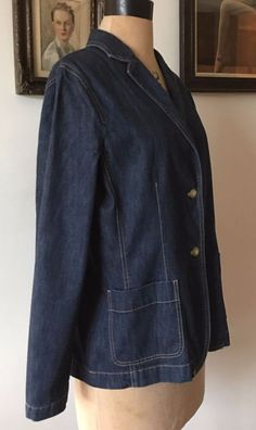UK SIZE 14 WOMENS LANDS END SEMI FITTED DENIM JACKET REVERE COLLAR PATCH POCKETS