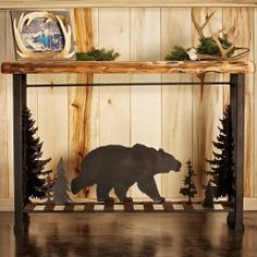 This Wood Metal Moose Scene Sofa Table Is Made From Solid And Wrought Iron Perfect For Making A Statement With Any Living Room Decor Your Cabin