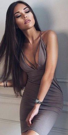 Sexy beauty in Hot grey Dress