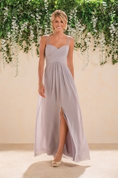 Simple Shoulder Straps Sleeveless Beaded&Ruched Long Chiffon Bridesmaid Dresses