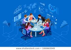 Can be used for web banner, infographics, hero images. Flat isometric vector illustration isolated on blue background. Isometric Sketch, Isometric Design, Business Illustration, Photo Illustration, Illustrations, Vector Photo, Web Banner, Vector Icons, Blue Backgrounds