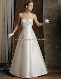 2013 Unique Brautkleider aus Satin A-Linie mit Handschuhe online