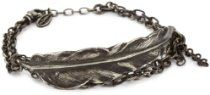 M.Cohen Handmade Designs Sterling Silver Feather On Mix Size Silver Chain Bracelet