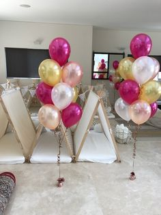Magenta, gold, white & rose gold...10 balloon bouquets @letspartywithballoons