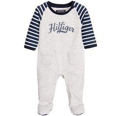 Tommy Hilfiger Boys Grey Marl Logo Babygrow at Childrensalon.com