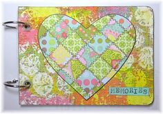 """Studio Rose - Hooked on Gelli! The heart was made from leftover scraps of patterned paper cut into squares, with """"stitching"""" added with a black pen.  Though you can't tell from the photo, the heart is mounted on foam tape to add dimension and pop it off the bubble-wrap printed background."""