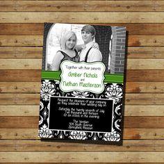 Picture & Damask Wedding Invitation (digital file)