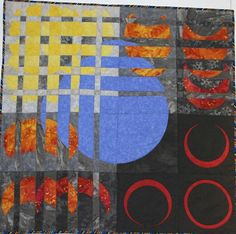 """jbe200quilts:    Eclipse  ©2006 by Sherry Winkleman, Winchester 39x39  Witnessing the total annular eclipse in Spain last October inspired me to make this quilt. The concepts in Ricky Tims' """"Convergence Quilts"""" were the starting point for putting the eclipse into motion."""