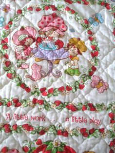 Vintage Strawberry Shortcake Quilted Bedspread with Ruffle - Twin Size - 1980 - American Greetings Corp - Cottage Girls Bedroom