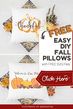 I love these cute DIY Fall Pillow Covers! They were so easy to make with the included Free SVG Files. #footprintsofinspiration #diy #falldiy #freesvg #falldecor #diydecor #easygifts #silhouette #cameo Diy Throws, Diy Throw Pillows, Fall Pillows, Diy Vinyl Projects, Easy Diy Gifts, Free Svg Cut Files, Home Decor Signs, Fall Diy, Footprints