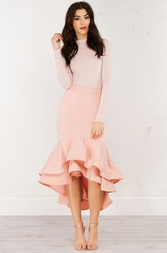 Ruffled Mermaid Skirt in Mauve // AKIRA // A sassy latin-flare hem never goes out of style ;)