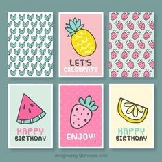 Collection of nice birthday card with fruits Free Vector