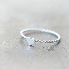 silver twist mini heart ring