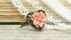 Flower Ring Lily Ring Adjustable Ring Salmon by IngridsCreations, $4.25