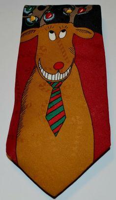 Christmas Tie Ugly Sweater Ties Mens Holiday Neckties Reindeer Neck Ties NWT