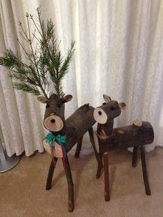 My Buck and Doe log reindeer.