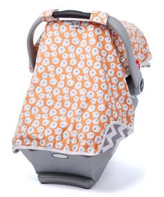 Loving this Gray & Melon Piggies Canopy Car Seat Cover on #zulily! #zulilyfinds
