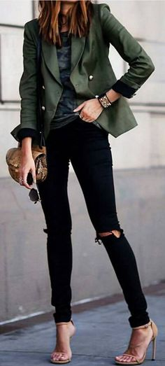 #streetstyle #spring2016 #inspiration | Army Green + Black + Nude