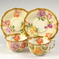 HAMMERSLEY BLUSH WITH ROSES PAIR PORCELAIN VICTORIAN DEMITASSE CUPS & SAUCERS