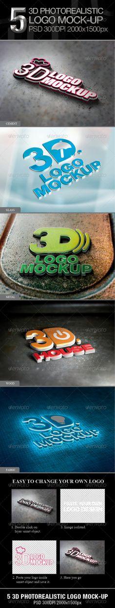 5 3D Photorealistic Logo Mock-up  http://graphicriver.net/item/10-photorealistic-logo-mockup/3832047?ref=kenoric