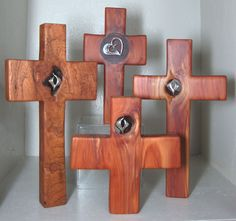 Custom Made Wood Crosses With Sterling Symbols