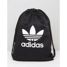 adidas Originals Drawstring Backpack With Trefoil Logo (1,110 DOP) ❤ liked on Polyvore featuring bags, backpacks, cotton drawstring bags, drawstring knapsack, adidas, drawstring rucksack and cotton backpacks