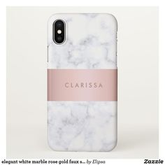 elegant white marble rose gold faux strip iPhone x case #iphoneaccessories,