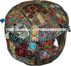 Ethnic Pouf Ottoman Round Poof Pouffe Foot Stool Indian Floor Pillow Decor by Being Gypsy Note:Cover only, insert not included. Pouf Ottoman, Tufted Storage Ottoman, Bean Bag Bed, Bean Bag Chair, Sofa Throw Pillows, Floor Pillows, Tapestry Bedding, Wall Tapestries, Round Floor Pillow