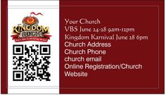 """Here's our VBS signup!  1.  Create a free QR code (high res) of your website (I used the free VBSPRO online registration on our real card) 2. Merge Kingdom Rock pic in Paint program 3.  Put information on business card at Vista Print  4.  Hand out """"registration cards"""" at church"""