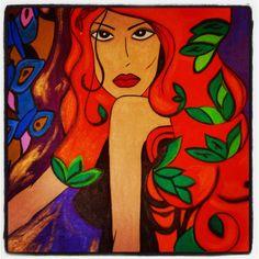 """Descreve o teu pin...pintura em tela """"Giovana"""". (por. Camila Rahal)"""