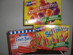 Foods that do not contain Red Dye 40 - Yeah!!! Popsicles I can eat
