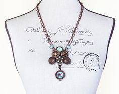 Vintage Button Necklace Lampwork Beads Nunn Designs Locket Swarovski Crystals Victorian Boho Gypsy Copper Mint Green Rose Pink OOAK - pinned by pin4etsy.com