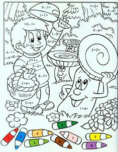 Math Coloring Worksheets, Kids Math Worksheets, Maths Puzzles, Learning Activities, Activities For Kids, Coloring For Kids, Coloring Pages, Color By Numbers, Math Addition