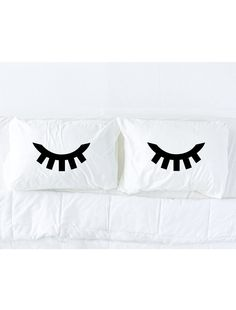 Pillowcase set Sleeping Eyes pillowcase set in Black by pinktop