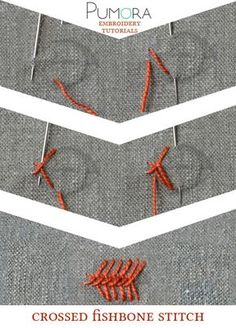 Pumora's embroidery stitch-lexicon: crossed fishbone stitch