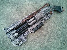 Nerf RUBBER Pistol Grip & Cocking handle Doomlands 2169 Vagabond Blaster - Apocalyptic, Zombie, Vampire, Cosplay, Steampunk -  (Pewter/Ruby)