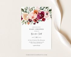 Floral Baby Shower Invitation Template Printable Baby Shower | Etsy
